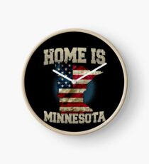 Home is Minnesota USA US map gift unique fans Proud Strong Support Clock