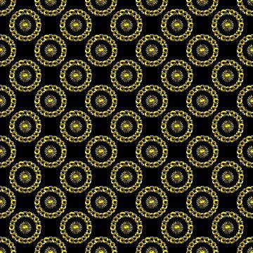 Gold and Silver Polka Dot Mandala Rings Pattern by MarkUK97
