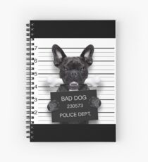 Funny French Bulldog Mugshot  Spiral Notebook