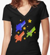 And The Day Was Saved, Thanks to... the Powerpuff Z-warriors ! Women's Fitted V-Neck T-Shirt