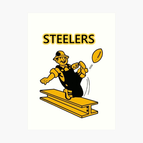 Steelers Vintage Pittsburgh Steelers - fantastic image of walking iron steel girder kicking  football Art Print