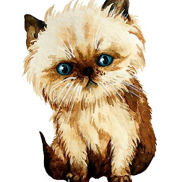 Funny kitten watercolor by ativka