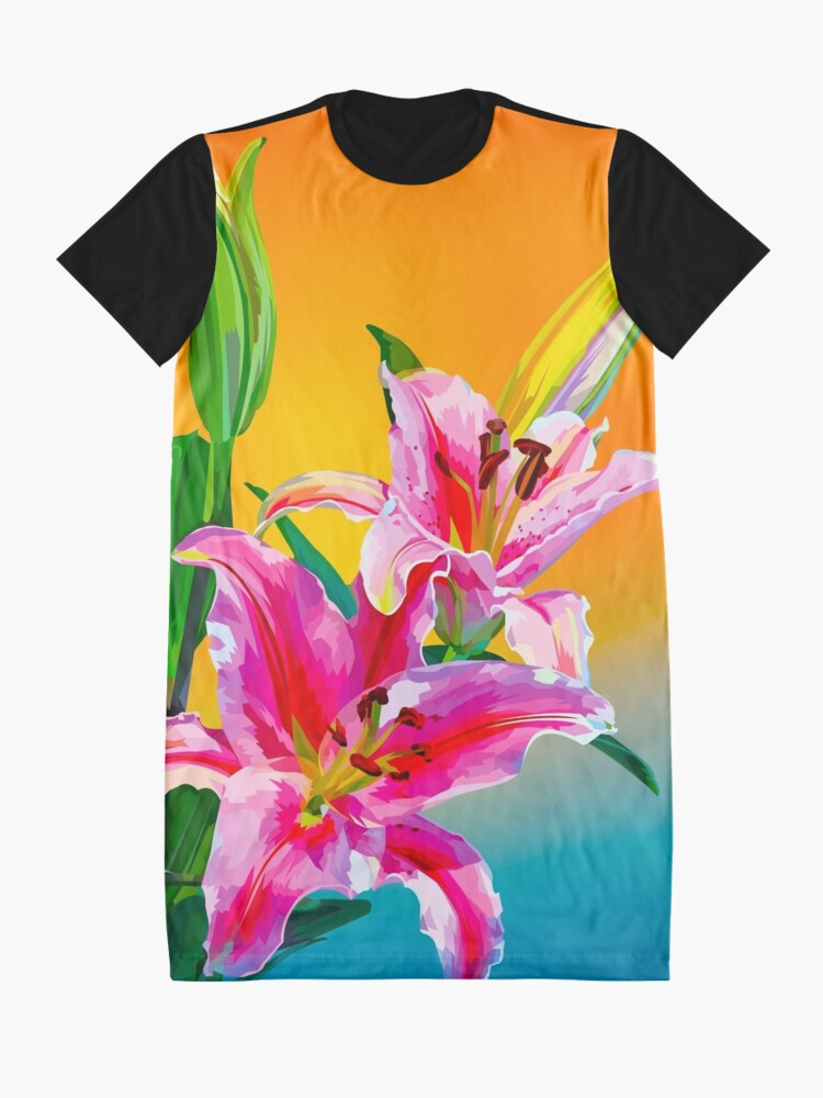Alternate view of Tropical Floral Fantasy  Graphic T-Shirt Dress