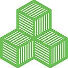 Geometric Pattern: Cube Stripe: Green by * Red Wolf