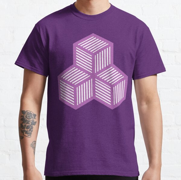 Geometric Pattern: Cube Stripe: Purple Classic T-Shirt
