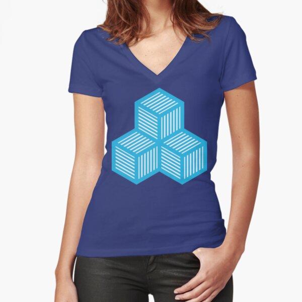 Geometric Pattern: Cube Stripe: Blue Fitted V-Neck T-Shirt
