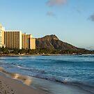 Golden Bliss on the Beach - Waikiki and Diamond Head Volcano by Georgia Mizuleva
