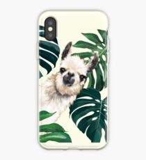 Sneaky Lama im tropischen Monstera iPhone-Hülle & Cover