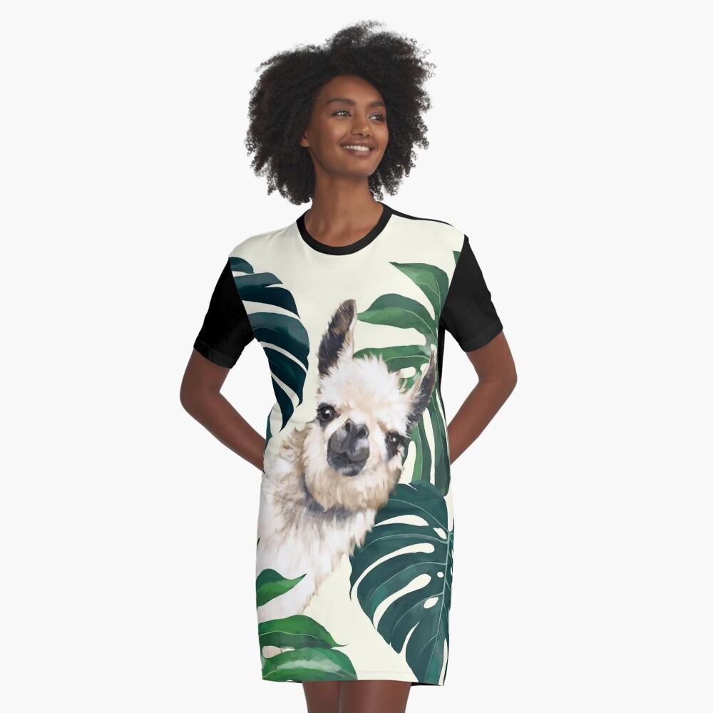 Sneaky Lama im tropischen Monstera T-Shirt Kleid
