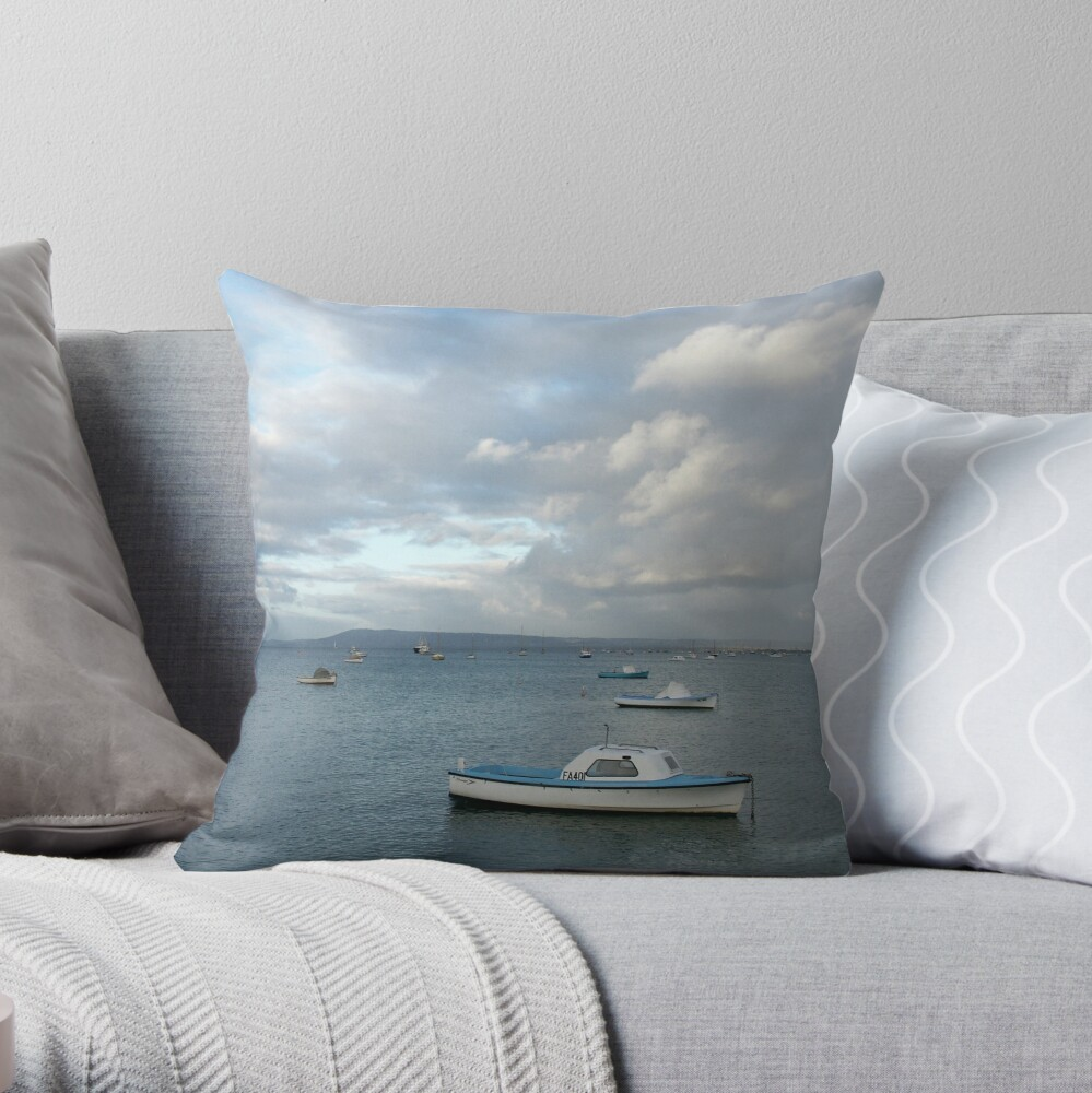 Boats on the Bay, Sorrento Throw Pillow