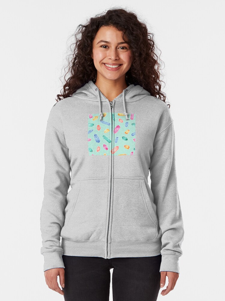 Alternate view of Crystals pattern - Light Green Zipped Hoodie