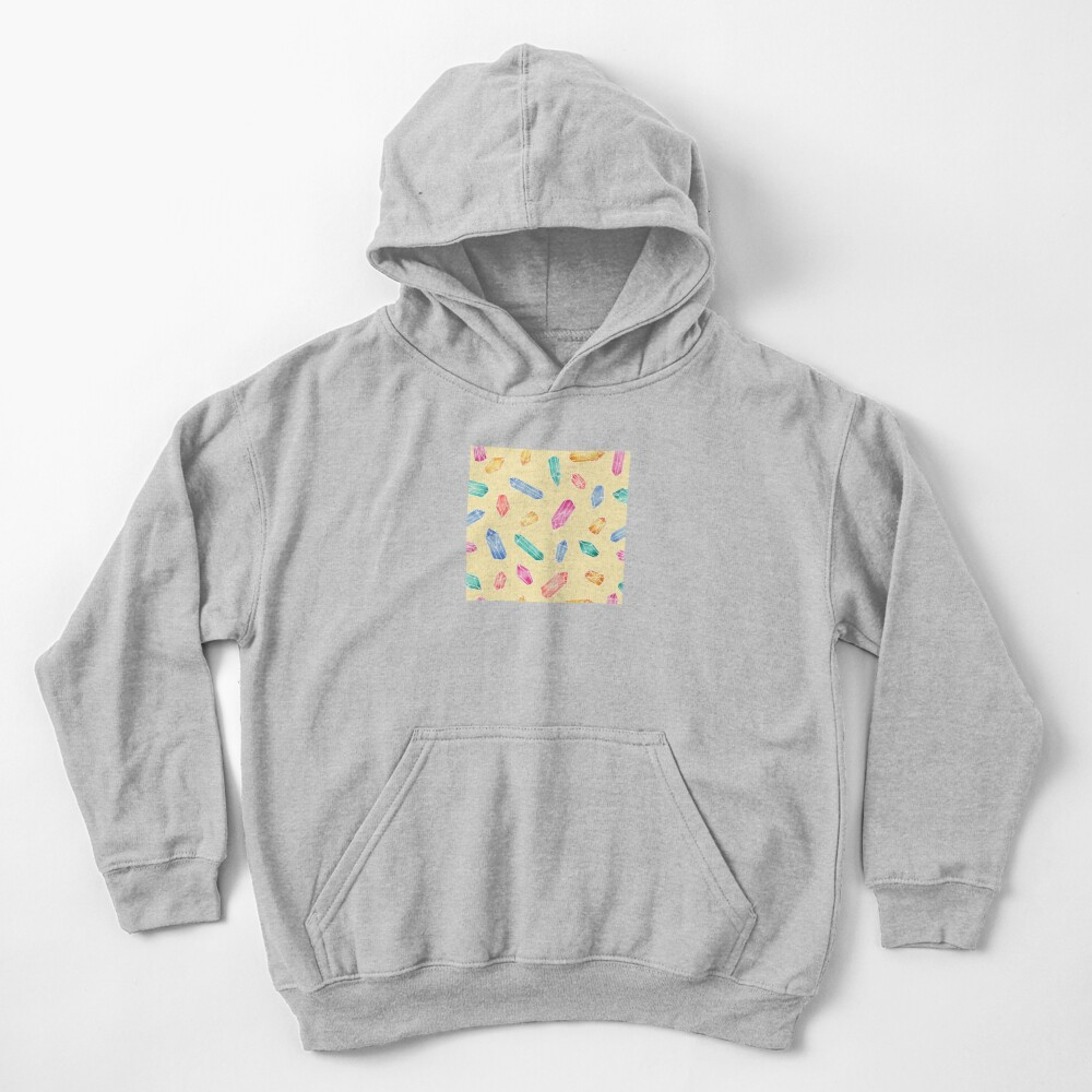 Crystals pattern - Yellow Kids Pullover Hoodie