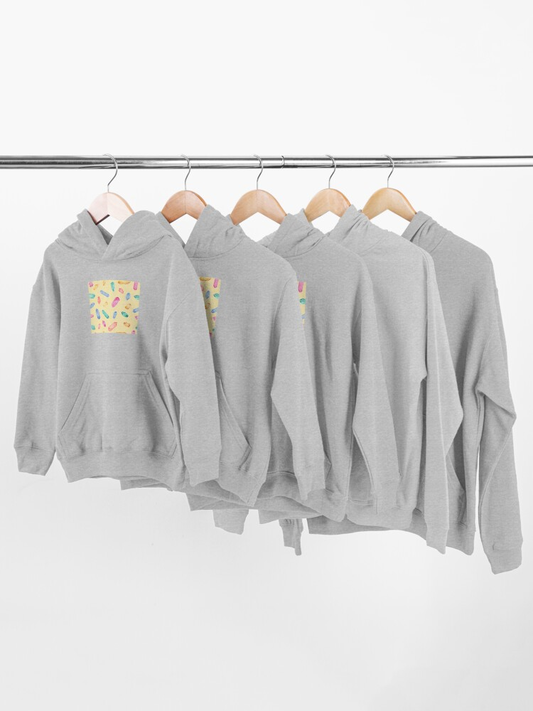Alternate view of Crystals pattern - Yellow Kids Pullover Hoodie