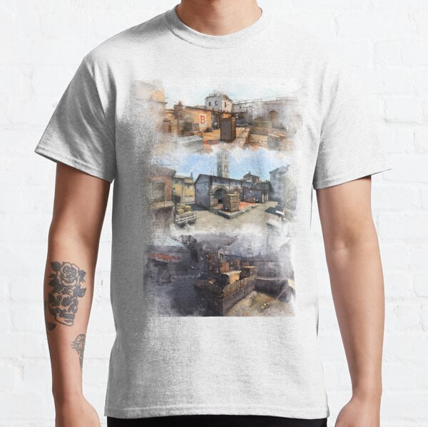 Dust 2 Inferno and Overpass Watercolour CSGO Map Poster Classic T-Shirt