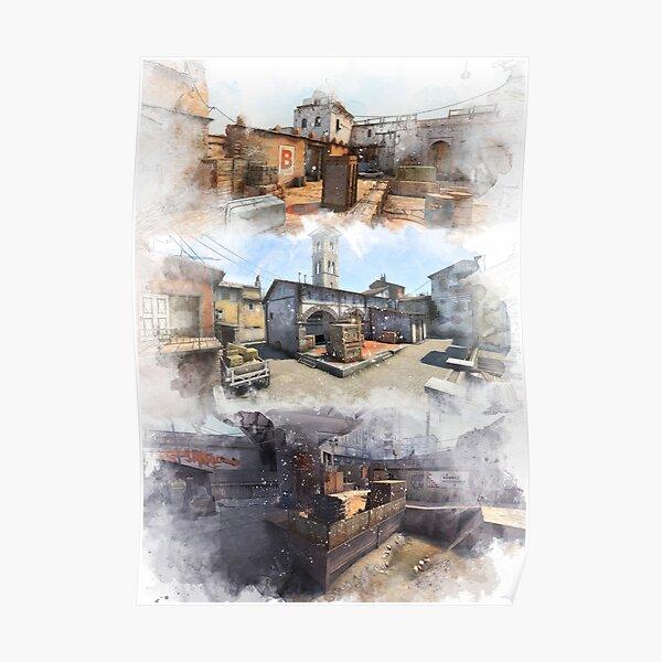 Dust 2 Inferno y Overpass Acuarela CSGO Mapa Cartel Póster