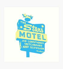 Seeing Stars ... Motel ... (blue) Art Print