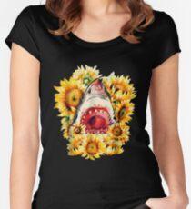 Hai-Sonnenblume-lustiges Haifisch-Blumen-Hemd Tailliertes Rundhals-Shirt