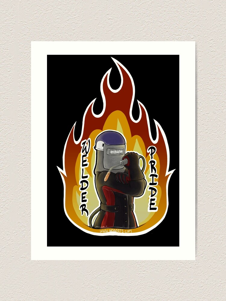 Mig Welder Pride Black And Red Fire Art Print By Woaarts Redbubble