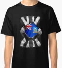 Falkland Islanders Roots - Falkland Islands Flag Falkland Islanders Great Britain Black And White Flag Ripped Effect - Gift For Falkland Islanders Classic T-Shirt