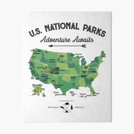 National Park Map Vintage T Shirt - All 59 National Parks Gifts T-shirt Men Women Kids Art Board Print