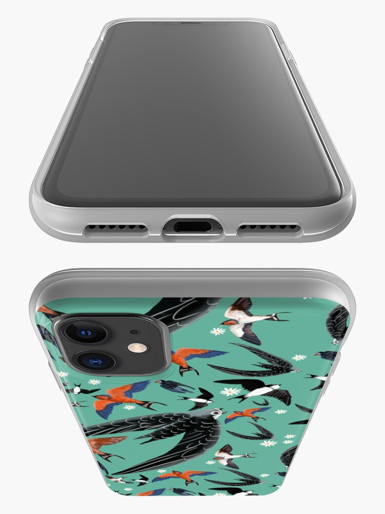 Vista alternativa de Funda y vinilo para iPhone Swallows and swift pattern (Turquoise)