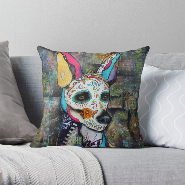 Xolo Mexican Hairless Dog Day of the Dead Throw Pillow