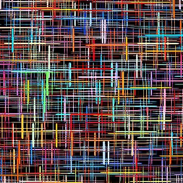 Abstract multicolored grid and checkered pattern on black.  by IaroslavB