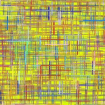 Abstract multicolored grid and checkered pattern on yellow. by IaroslavB