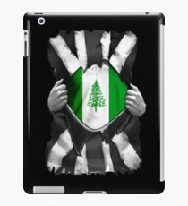 Norfolk Islander Roots - Norfolk Island Flag Norfolk Islander Great Britain Black And White Flag Ripped Effect - Gift For Norfolk Islander iPad Case/Skin