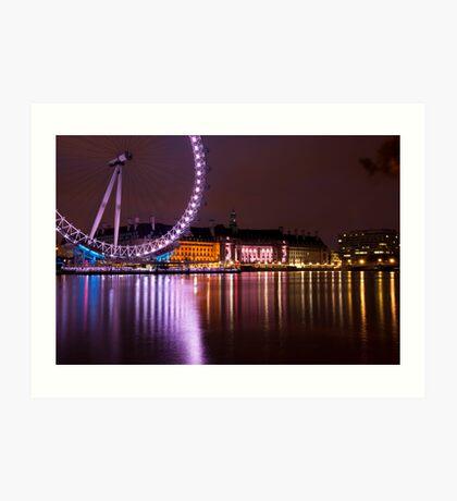 Big Wheels Keep on Turning: The London Eye at Night Art Print