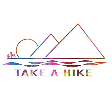 Take A Hike mountain and water scene with a painted background by LESLIEDYESIGN