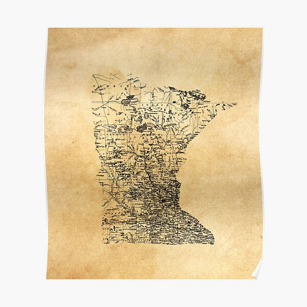 Old Map of Minnesota Poster