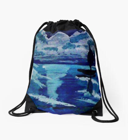 Moonlight sail,,, watercolor Drawstring Bag