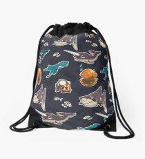 Spooky Sea Vector Pattern Drawstring Bag