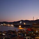 Summer Evening Port Life in the Mediterranean (Ermoupolis) by Themis