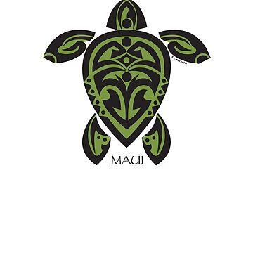 Black & Green Tribal Turtle Tattoo / Maui by srwdesign