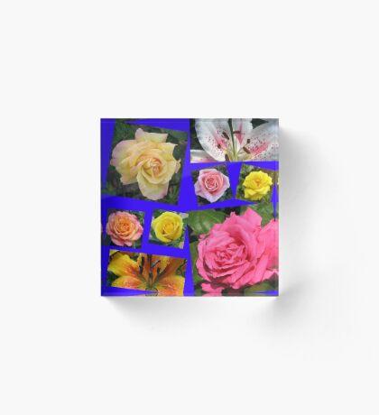 Rosen und Lilien Collage Acrylblock