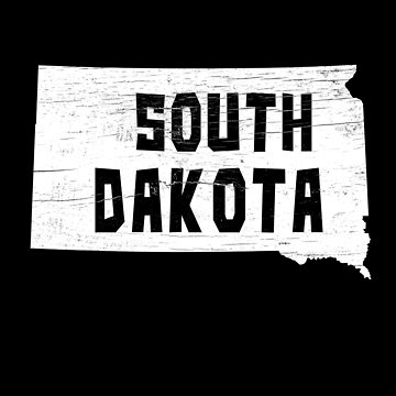 South Dakota Home Vintage Distressed Map Silhouette by YLGraphics