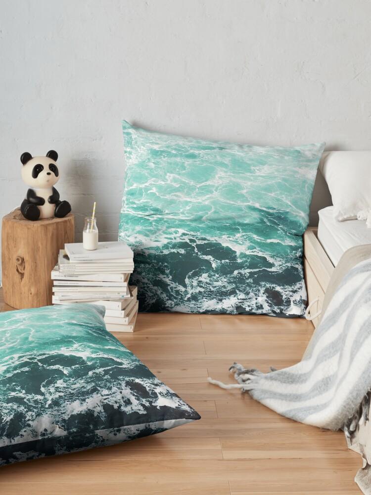 Alternate view of Blue Ocean Summer Beach Waves Floor Pillow