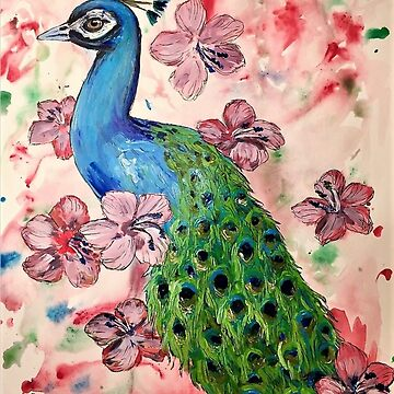 Peacock and Hibiscus by Creatividad