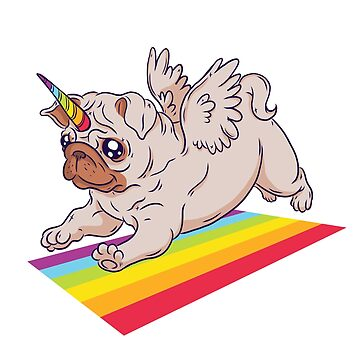 Fly rainbow pug dog by mjmmrsgn