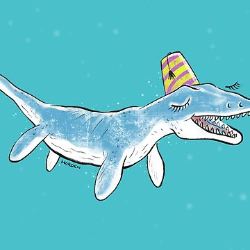 Pliosaur in a party hat by morden