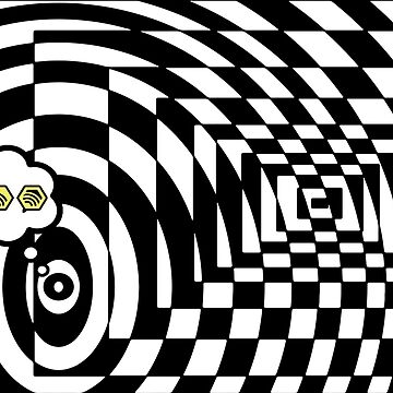 comic cloud of black and white chess board tunnel op art  by SofiaYoushi