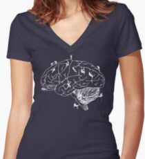 Climbing On The Brain Women's Fitted V-Neck T-Shirt
