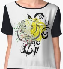 Big Tiger, Small Cat Abstract (cats on cats on cats) Chiffon Top