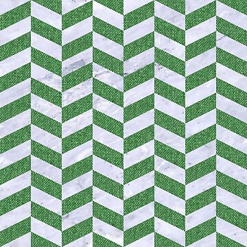 CHEVRON1 WHITE MARBLE & GREEN DENIM by johnhunternance