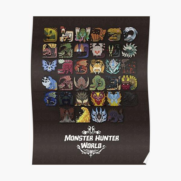 Affiche mondiale de monstre chasseur Poster