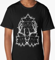 Decay Geometric Deer Skull - White Print Long T-Shirt