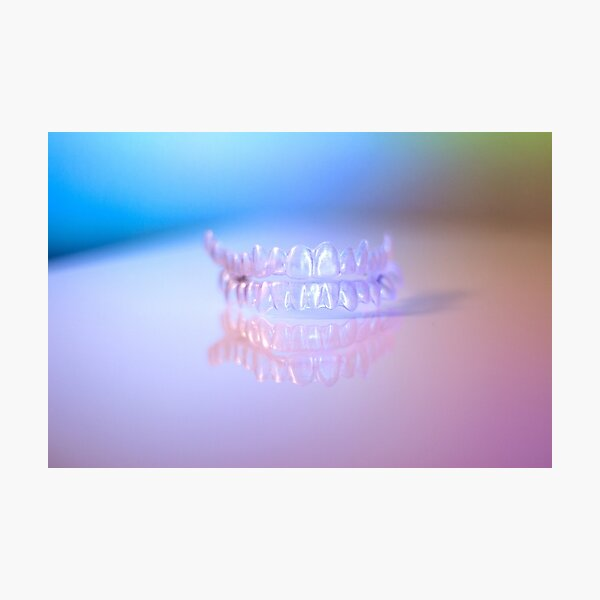 Invisible dental retainers. Correction alignment denture. Photographic Print