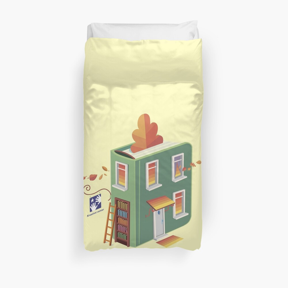 autumn in the street of the book Duvet Cover